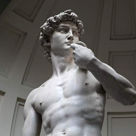 Close of Michelangelo's David in the Galleria Dell'Accademia