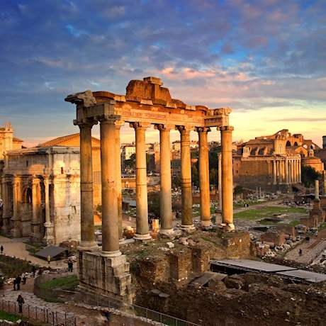 The Roman Forum by sunset