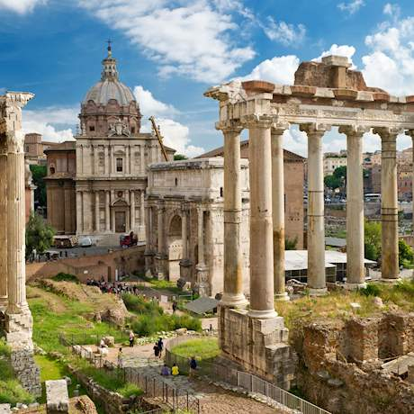 Roman forum on a cloudy and sunny day