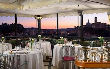 Restaurant and terrace by sunset