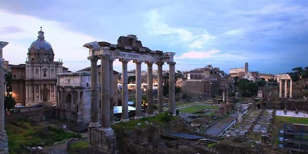 Roman forum in the evening