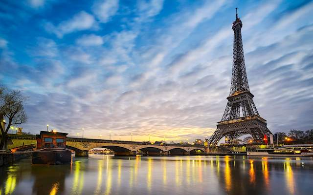 Eiffel tower and Seine Sunset