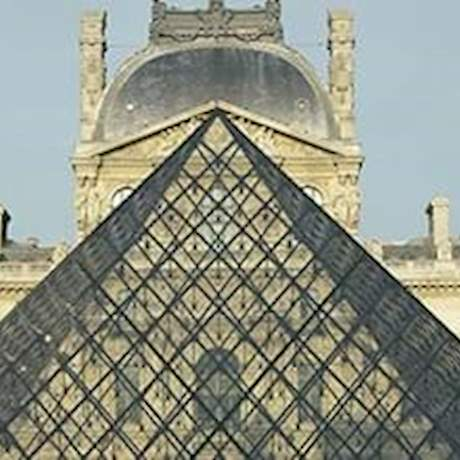 Louvre Museum Pyramid Front View