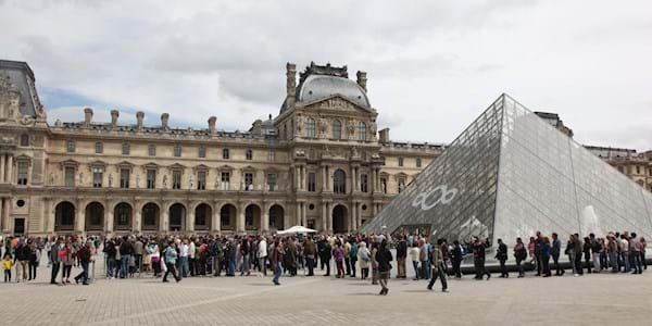 Louvre Museum Exterior with people
