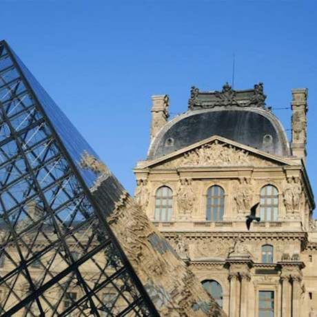 Louvre Museum Pyramid Close up