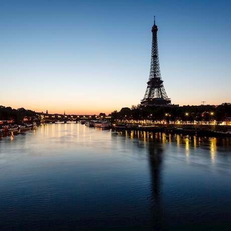 Eiffel Tower Evening and Seine River