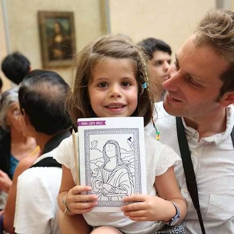 Kid with the Drawing of Mona Lisa
