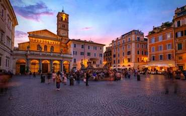 Trastevere Church Square Evening