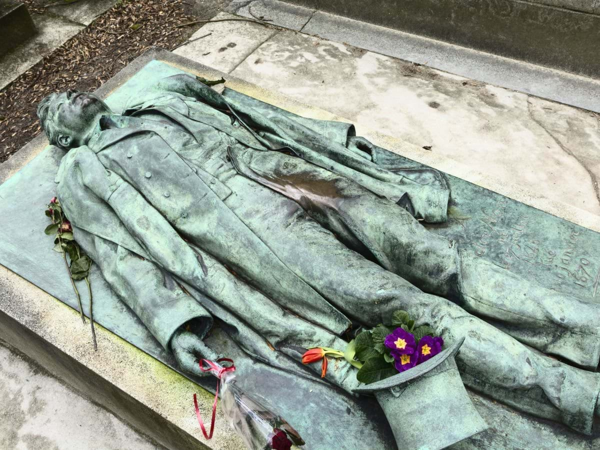 Victor Noir's Tomb in Pere Lachaise Cemetery Paris