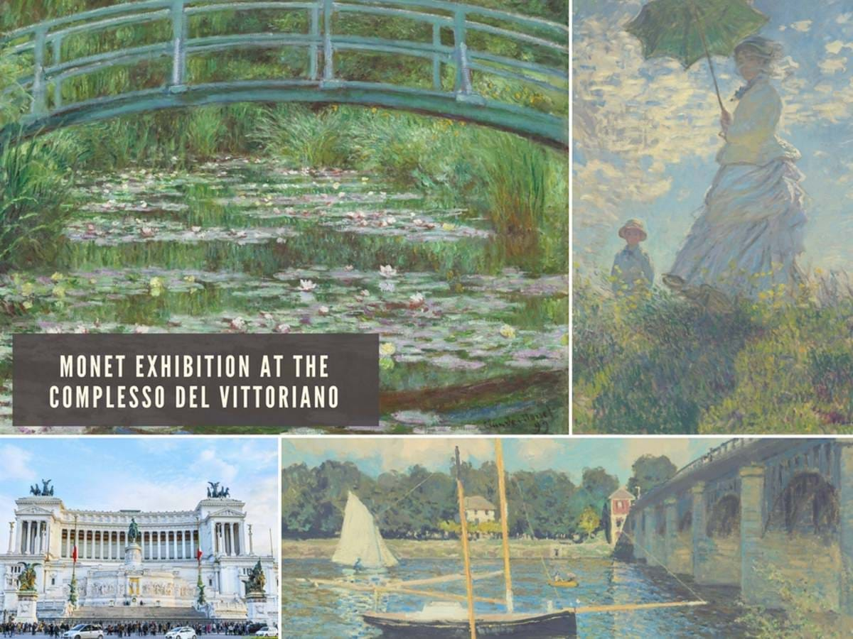 Collage of Monet works and Il Vittoriano