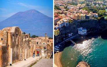Pompeii Ruins with Vesuvius and Sorrento Coast