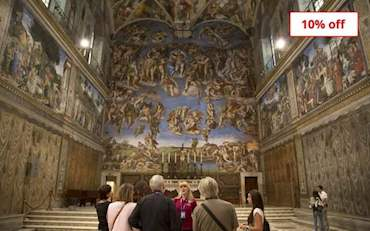 Group in front of Last Judgement Sistine Chapel