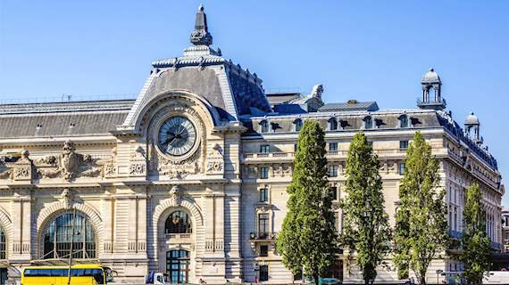 Exterior view of Modern Art Museum Musee d'Orsay in Paris from Seine river side